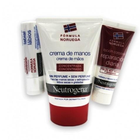 Neutrogena Pack Crema Manos 50 Ml + Lapiz Labios + Locion Corporal Reparacion Diaria 15 Ml