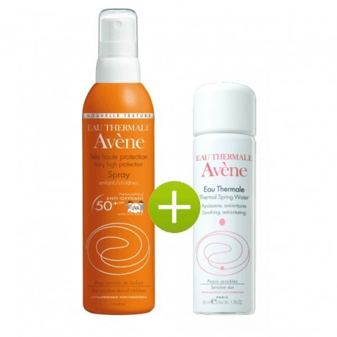 Avene Solar Spray 50+ Infantil 200 Ml Y Agua Termal De Avene 50 Ml