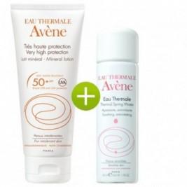 Avene Leche Mineral 50 Spf Muy Alta Proteccion Pantalla Fisica 100 Ml Y Agua Termal De Avene 50 Ml
