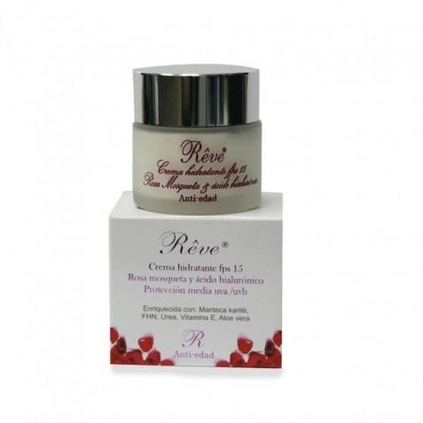 Crema Hidratante Rosa Mosqueta Y Acido Hialuronico Fps15 Reve