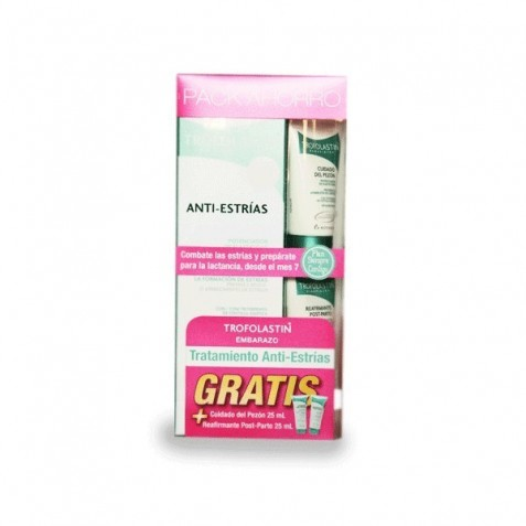 Trofolastin Anti-Estrias 250 Ml Pack Ahorro+Reafirmante Post-Parto 25 Ml+Cuidado Del Pezon 25Ml