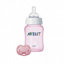 Philips Avent Set Bibieron Classic+ Y Chupete Rosa