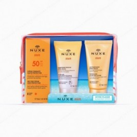 Nuxe Sun Coffret de Viaje Con Crema Fundente Alta Proteccion Spf50 + Regalo Champu y Gel + Leche Refrescante